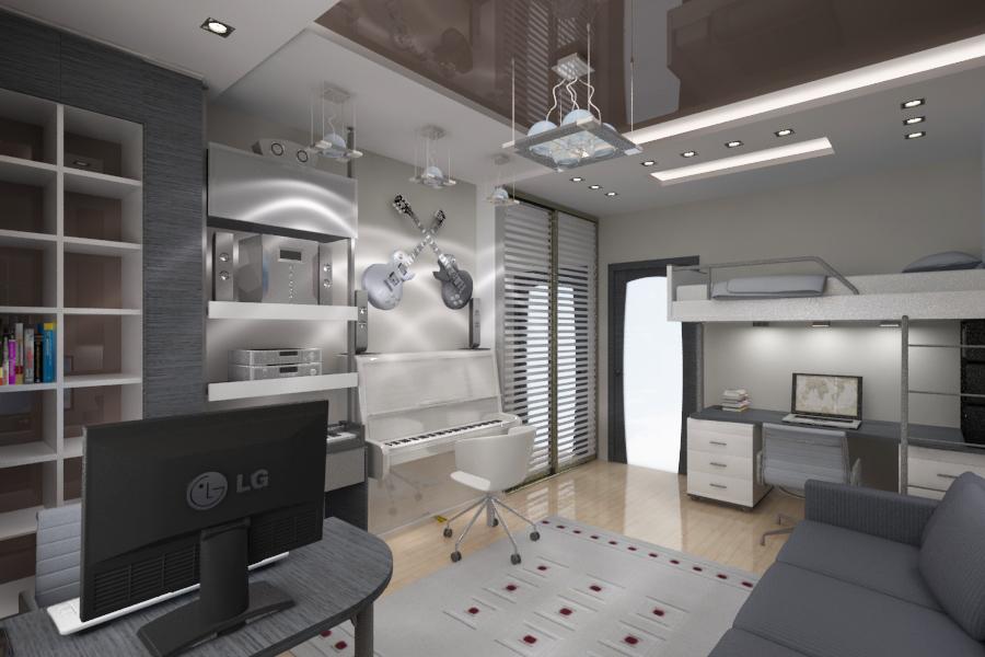 Дизайн комнаты двух сыновей hi tech и